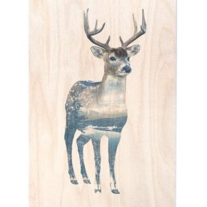 Birch panel – Deer rectangle